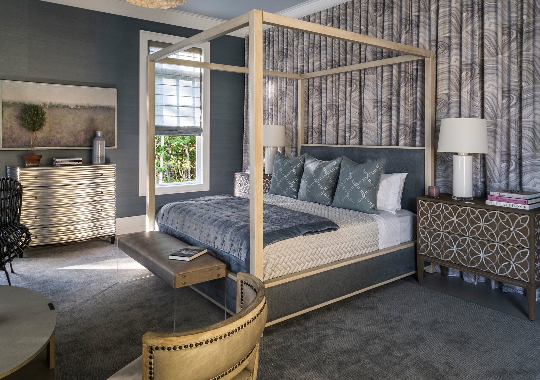 Designer Rugs — A gray-brown textured silk rug on the first floor master bedroom by Mabley Handler Interior-Design in the 2016 Hamptons Designer Showhouse.