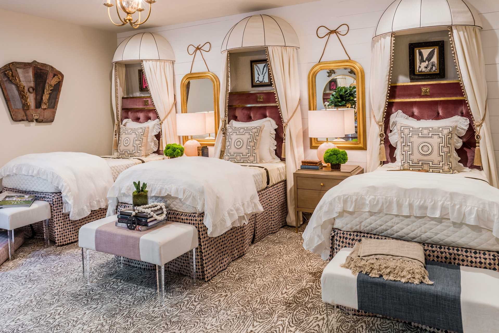 Designer Rugs — A wood grain pattern rug in the bedroom by Dodson Interiors in the 2016 Hamptons Designer Showhouse.