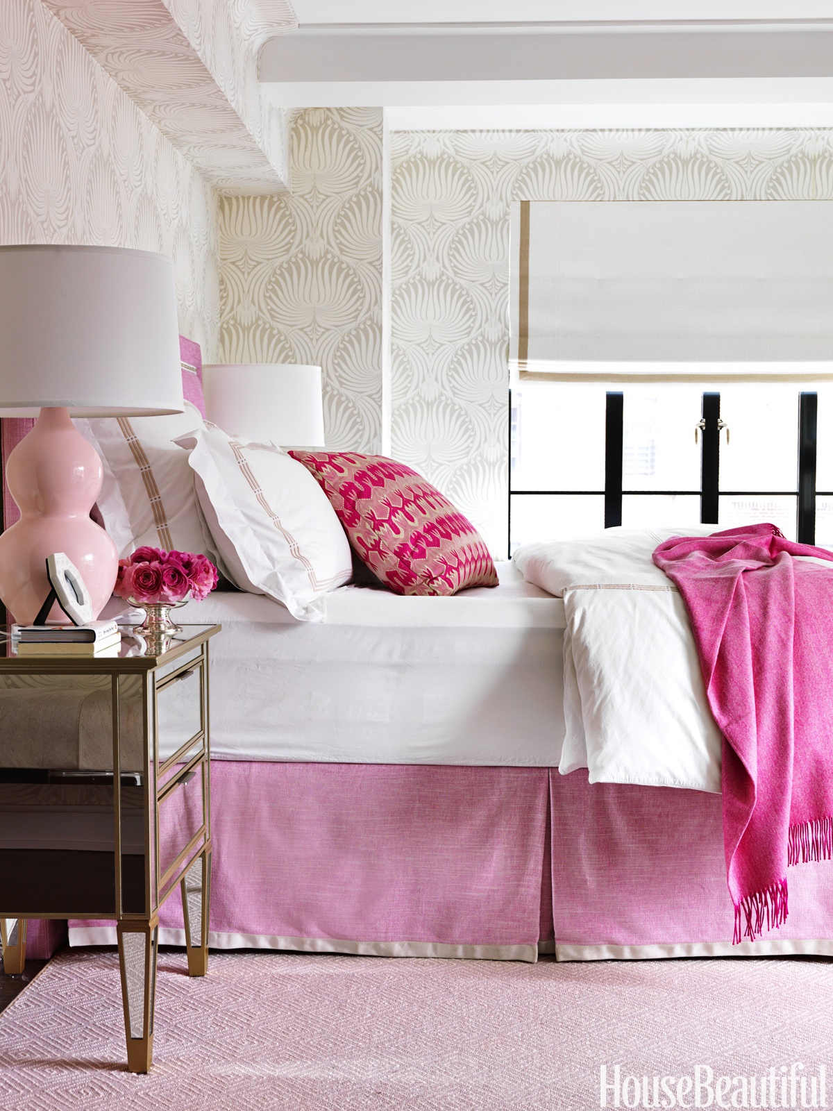 Pink geometric rug in pink master bedroom designed by Christina Murphy featured in Asmara Interview with the designer