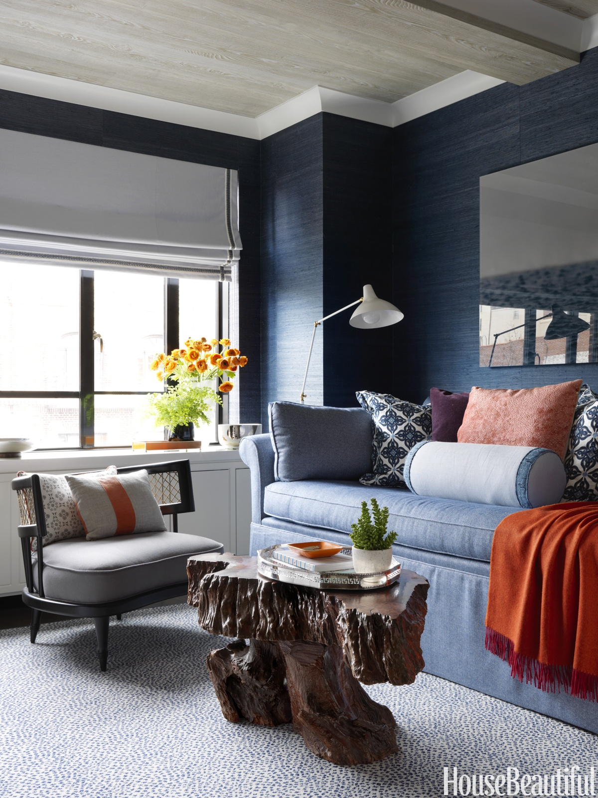 blue Designer Rug in Sitting Area designed by Christina Murphy featured in Asmara Interview with the designer