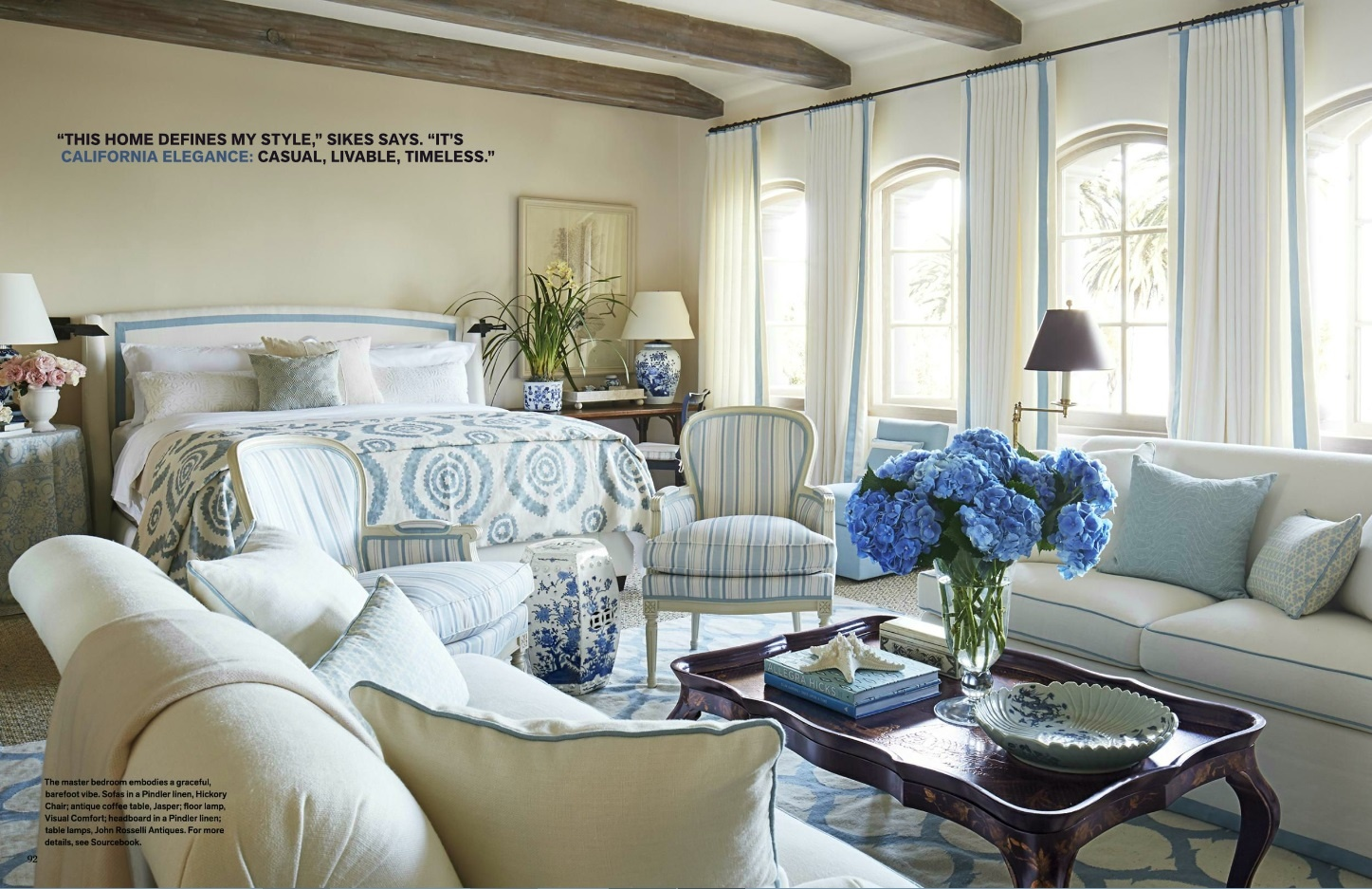 A blue and white geometric rug in an ogival pattern in a master bedroom designed by Mark D. Sikes - Veranda July/August 2016