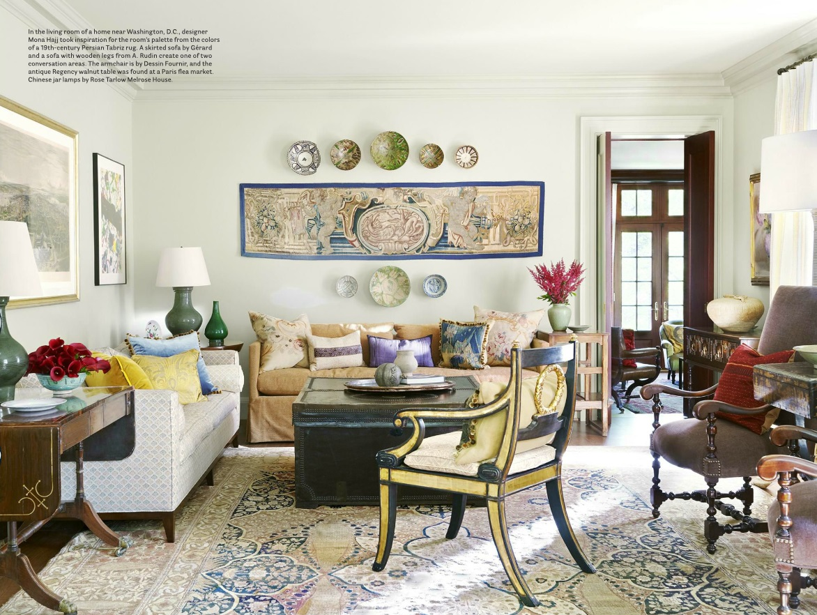 A 19th Century Tabriz Designer Rug In A Living Room Designed By Mona Hajj    House