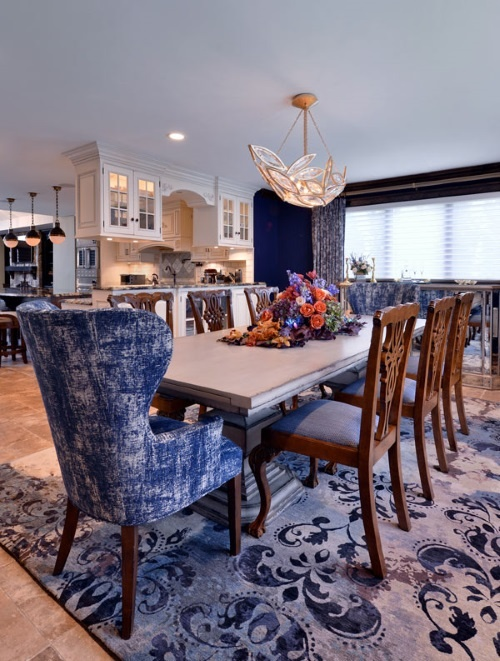 Asmara Designer Rugs Interview with Long Island interior designer Marlaina Teich - A purple Damask rug adds pizazz to the dining area.