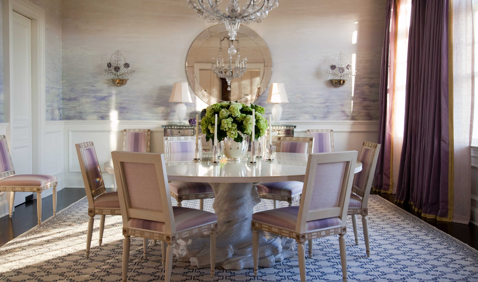 Asmara designer rugs interview with Brian J. McCarthy - Colorful dining room with a geometric blue and cream rug.
