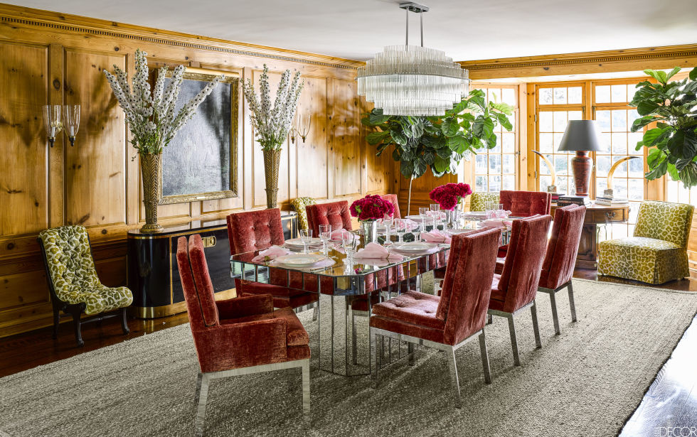 """In the dining room a gray flat weave rug allows their """"granny-chic"""" look to standout."""