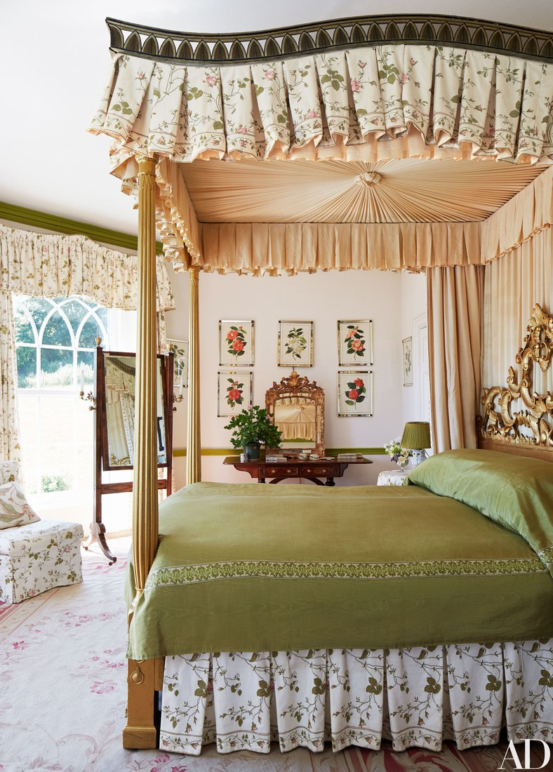 Aubusson Rug Master Bedroom of Coote Sykes Gothic House in Dorset England