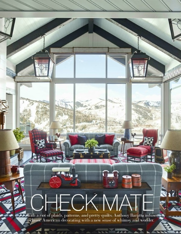 Geometric rug in a quiltpattern in living room of ski lodge in Utah designed by Anthony Baratta in Veranda Magazine November 2016
