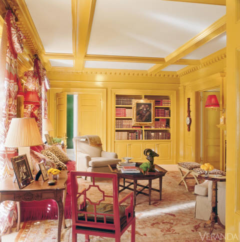 oushak-rug-gold-beige-and-red-Oushak-rug-yellow-walls-library-in-Houston-home-designed-by-Miles-Redd-veranda-july-2013.jpg