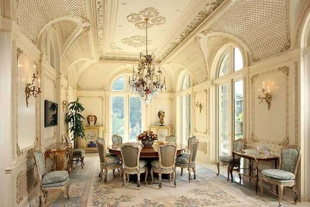 cream-and-blue-aubusson-rug-dining-room-Le-Palais-Des-Anges-9577-Sunset-Boulevard- Beverly-Hills-California-2.jpg