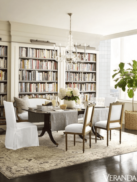 Gray Oushak Rug Library And Dining Room Houston
