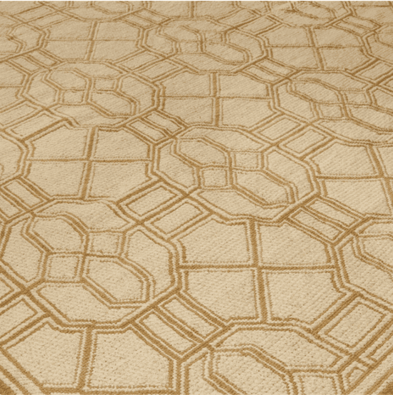Chipping 1130CD is a Chinoiserie style geometric needlepoint rug in goden-beige and cream