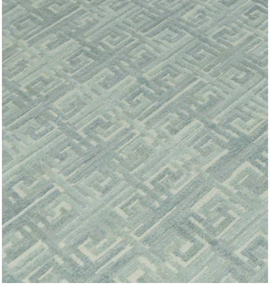 Adelphi Oriental Rug 6556UG has a greek key pattern in aqua, blue-green, gray and cream accents in a cut and loop texture and is handmade with hand spun wool