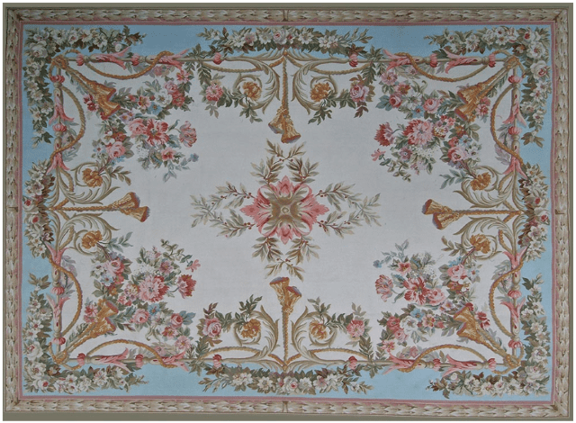 Auvergne Aubusson Rug 9405CB has a blue outer field and a cream inner field with floral bouquets and gold tassels pointed towards a central medallion of red and green leaves all surrounded by a green and rose laurel leaf border
