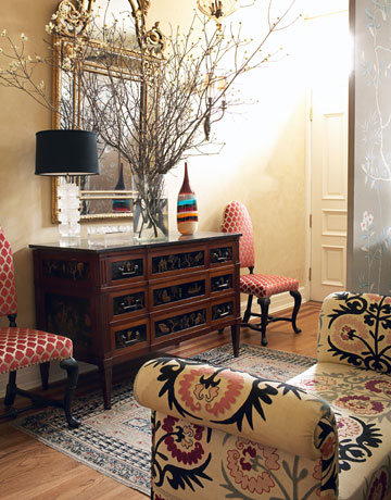 Foyer rug is an oushak rug in traditional entryway designed by Alessandra Branca