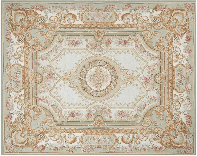 Normandie Aubusson Rug 9430G has a cream and green border, pale green field a cream round center medallion and corners containing shell motifs and acanthus scrolls. Pink, rose, blue, lilac and white flowers and ivy vines adorn the entire surface