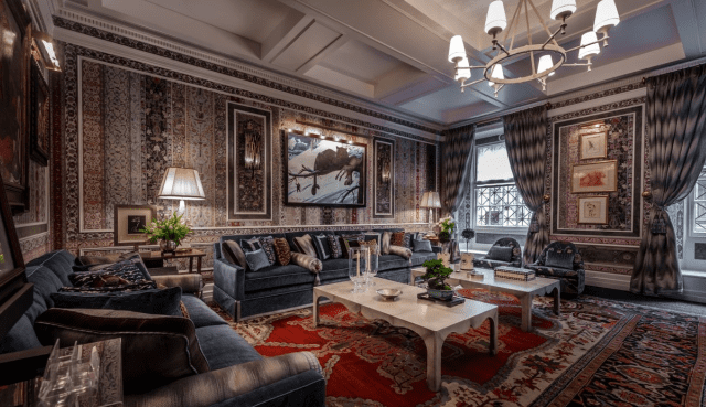 Red oriental rug in Richard Mishaan's parlor room in Kips Bay Decorator Show House 2017