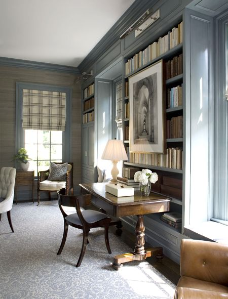 damask-rug-pale-gray-rug-traditional-library-blue-walls.jpg